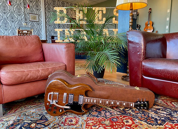 SOLD! -1974 Gibson SG Standard w/ factory 'Gibson' Bigsby Cherry faded to Walnut
