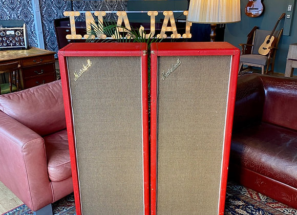 SOLD! - 2 x 1969 Marshall 4x12 Model #1969 PA Column Cabinet RED Tolex