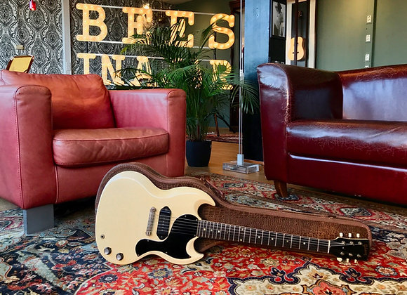 SOLD! - 1964 Gibson SG TV Junior Polaris White P90 w/ original croc case