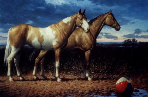 6. Two Horses with a Beachball