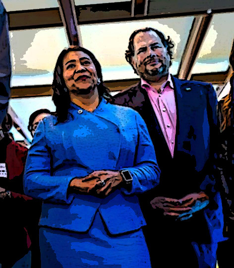 Mayor London Breed and Marc Benioff / SF Chronicle