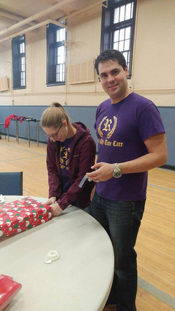 Gift wrapping station at Hope House