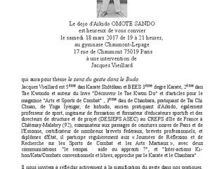 Le sens du geste dans le Budo avec J. Vieillard le 18 mars 2016