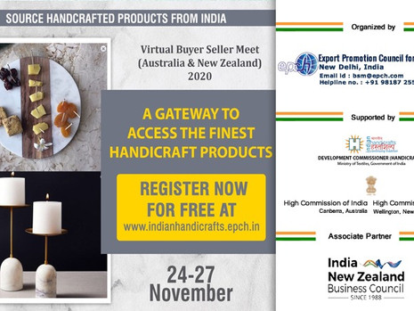 VIRTUAL BUYER SELLER MEET FOR INDIAN HANDICRAFTS & TEXTILES FROM 24 – 27 NOVEMBER, 2020