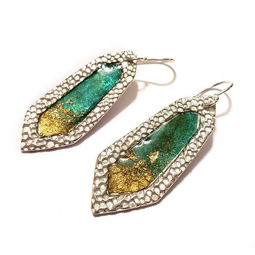 Aqua Faceted Earrings