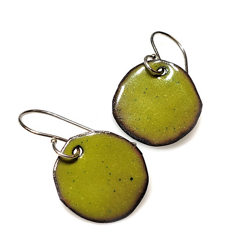 Bright Green Polka Dot Earrings