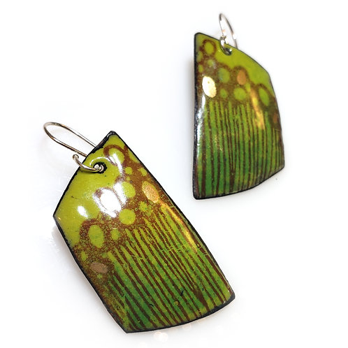 Bitter Green Trapezoidal Earrings