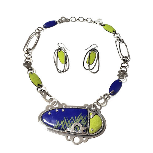 Enameled Necklace and Earrings