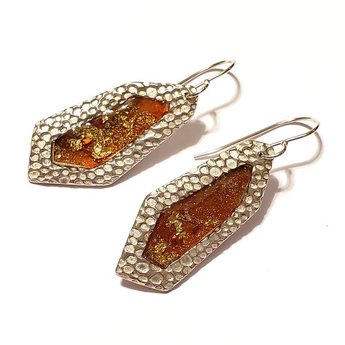 Amber Faceted Earrings