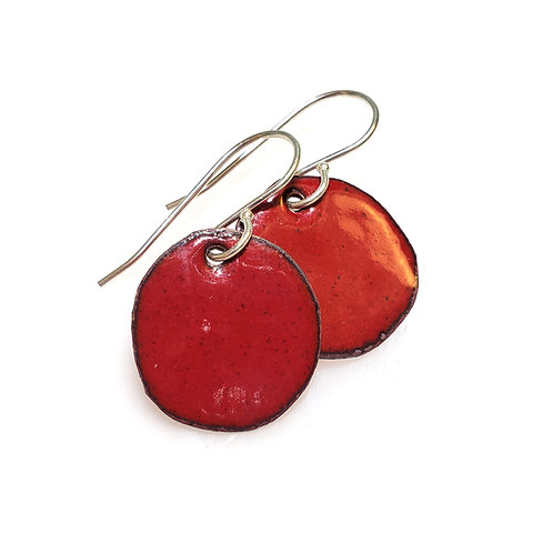 Deep Red Polka Dot Earrings