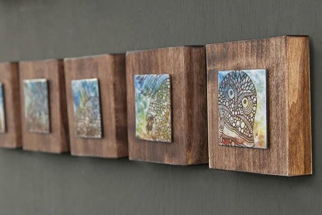 Loving these little enameled wall pieces