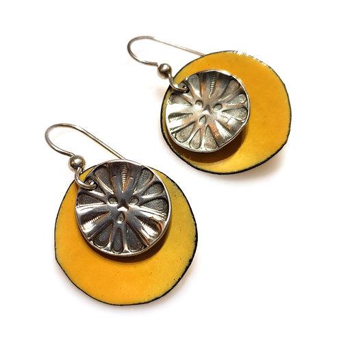 Yellow & Silver Earrings