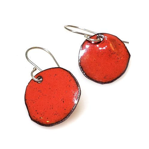 Bright Red Polka Dot Earrings