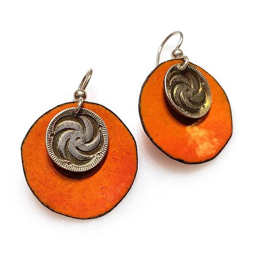 Orange & Silver Earrings