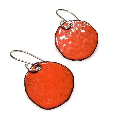 Deep Orange Polka Dot Earrings