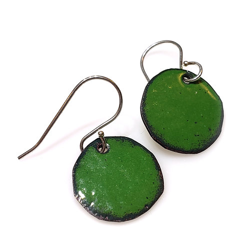 Deep Green Polka Dot Earrings