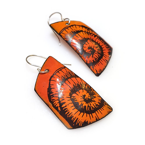 Flame Orange Trapezoidal Earrings