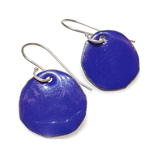 Deep Blue Polka Dot Earrings