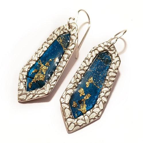 Blue Faceted Earrings
