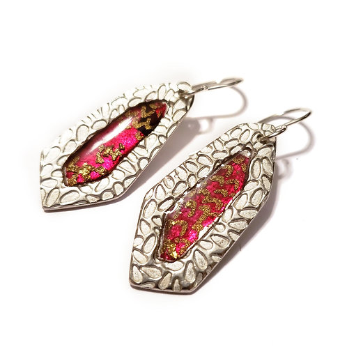 Fuchsia  Faceted Earrings