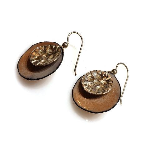 Tan & Silver Earrings
