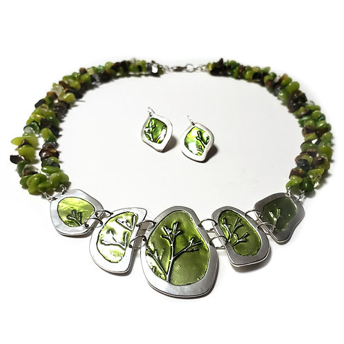 Silver Branches - Necklace and Earring Set