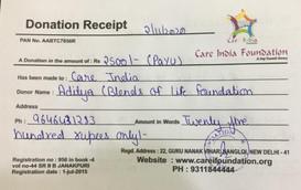 Care India Foundation's Acknowledgement