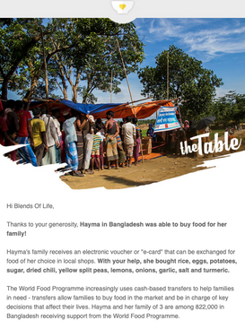 Recognition by the UN World Food Programme for the donation made