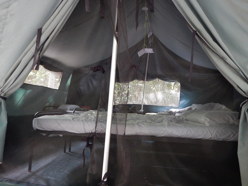 Tent of Doom by daylight. Those mattresses are actually medieval torture devices. Cinnamon Bay, St. John, Caribbean. Royal Vagabonds. Travel Blog.