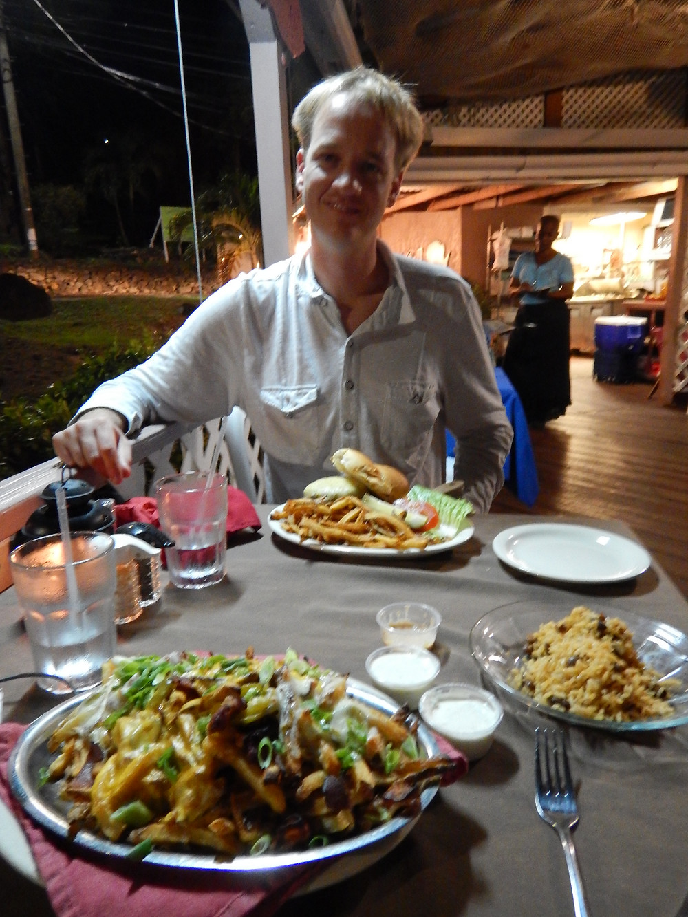 dining on appetizers on St. John, Caribbean. Vagabond style.