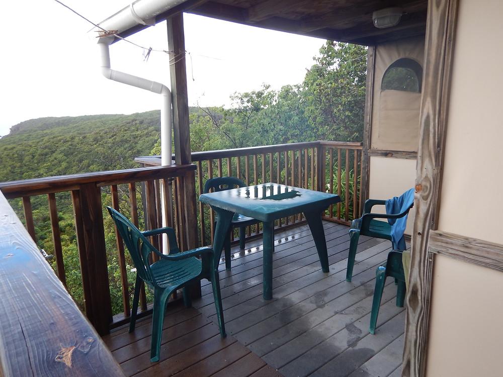 Deck view in the rain, Concordia Eco Resort, St. John, US Virgin Islands