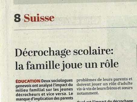 Décrochage scolaire: interview pour Le Temps