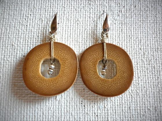 Boucles d'oreilles bambou et perles