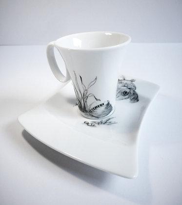 Tasse à café poisson, coquillage