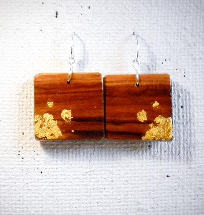 Boucles d'oreilles carrées bois et or