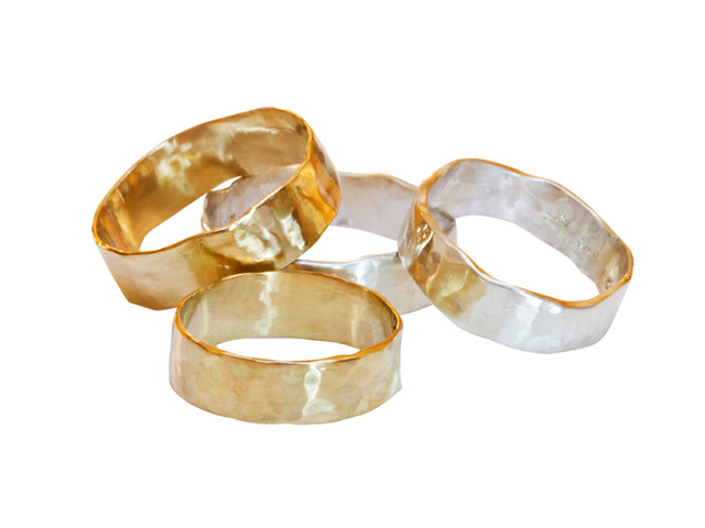 Anna Moltke-Huitfeldt's hammered gold and silver rings have become a classic, known to clients who value Anna's natural design and her ethical values. Made to order in Fairmined gold and silver.