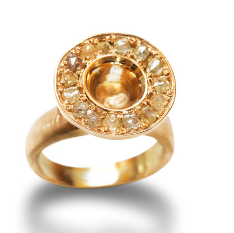 Fairmined Gold and Rough Diamond Ring