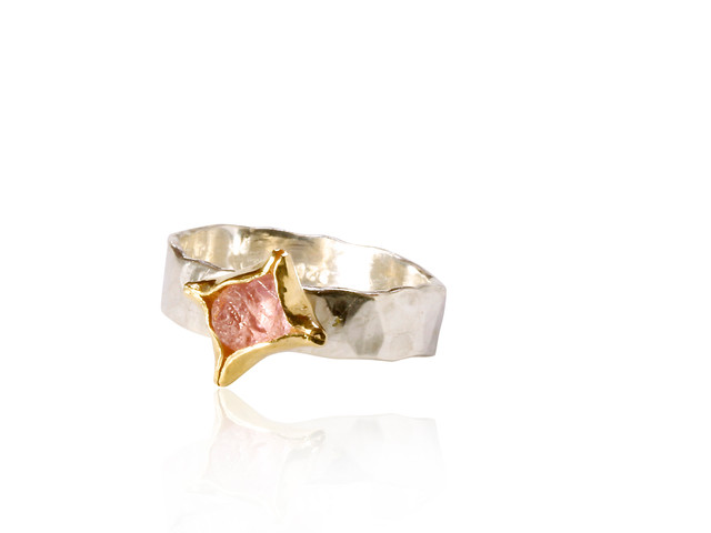 Rough, pink Sapphire Ring