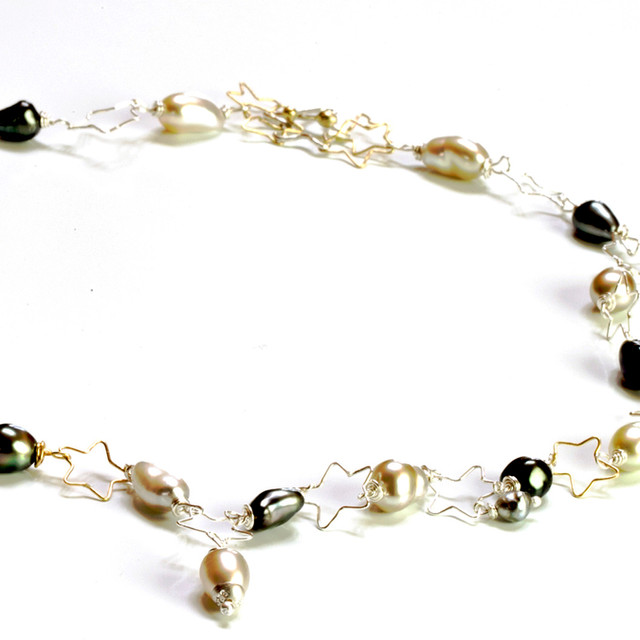 Star Necklace with Keshi Pearls