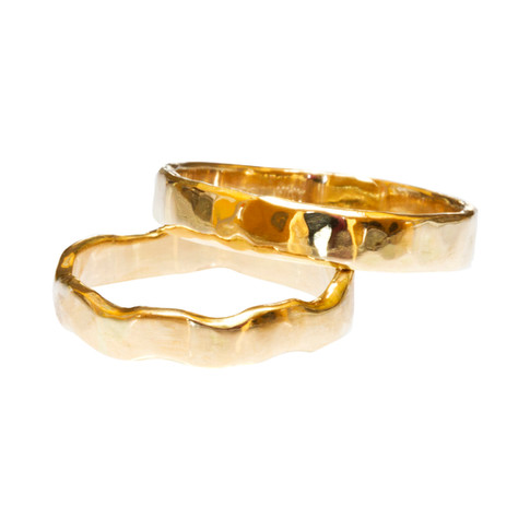 Hammered, Fairmined Wedding Rings 2