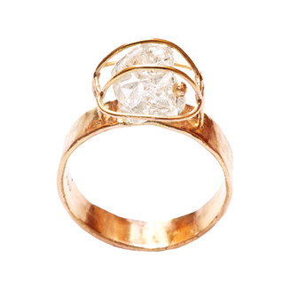 Rough Diamond and Fairmined Gold Ring
