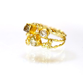 Rough and Cut Diamond Ring