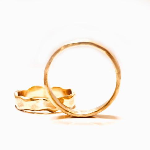 Wavy and Plain Wedding Rings
