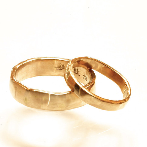 Hammered, Fairmined Ecological Wedding Rings