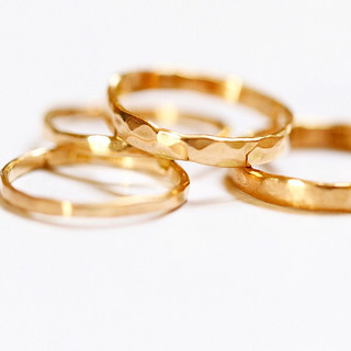 Hammered Fairmined Eco Gold Rings