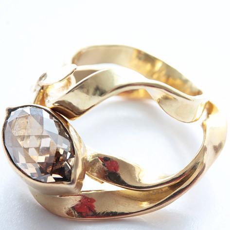 Briolette Diamond Ring