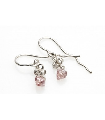 Gold and Rough Diamond Earrings