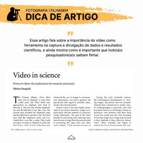 Fotografia e Filmagem Científica | Dica de Artigo #1