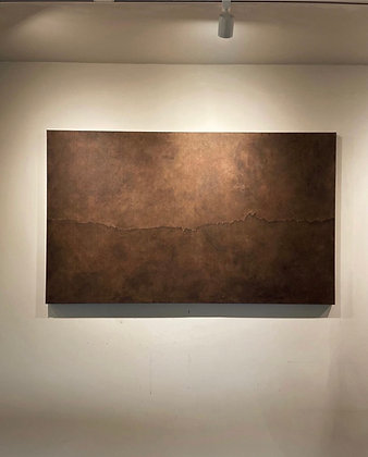Torn illusion painting with brown patina