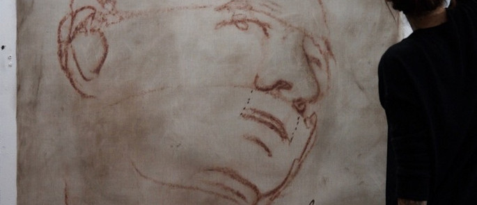 coloured dry brush to emultate old master sanguine sketch